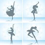 Set of ballet dancers silhouettes. Vector illustration. - stock illustration