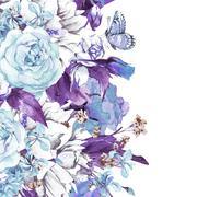 Blue Gentle Vintage Floral Greeting Card Stock Illustration