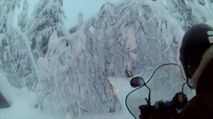 Sweden Lapland Sarkimukka, POV tourists on snowmobile 008 Stock Footage
