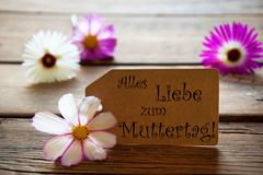 Label With German Text Alles Liebe Zum Muttertag With Cosmea Blossoms Stock Photos