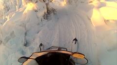 Sweden Lapland Sarkimukka, POV tourists on snowmobile 017 Stock Footage
