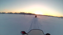 Sweden Lapland Sarkimukka, POV tourists on snowmobile 013 Stock Footage