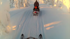Sweden Lapland Sarkimukka, POV tourists on snowmobile 020 Stock Footage