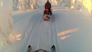 Stock Video Footage of Sweden Lapland Sarkimukka, POV tourists on snowmobile 020