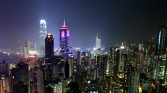 Time Lapse of Hong Kong Skyline and Victoria Harbour at Night - Hong Kong China Stock Footage