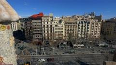 Barcelona Street traffic - top View Stock Footage
