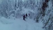 Stock Video Footage of Sweden Lapland Sarkimukka, Tourists walking through forest 002