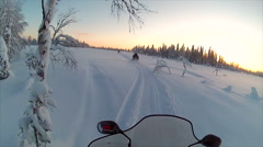 Sweden Lapland Sarkimukka, POV tourists on snowmobile 012 Stock Footage