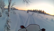 Stock Video Footage of Sweden Lapland Sarkimukka, POV tourists on snowmobile 012