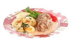 meatballs with potatoes - stock photo