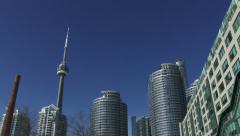 Panoramic view of CN Tower and skyscrapers in Toronto, Canada Stock Footage