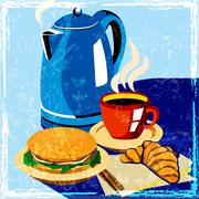 lunch time - stock illustration