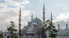 Time lapse photography, clouds moving across the blue sky with Blue Mosque Stock Footage