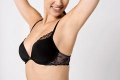 Perfect woman's upper body, closeup. - stock photo