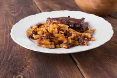 bacon with fried potatoes - stock photo