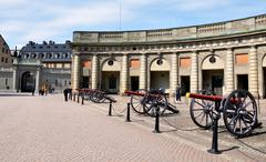Cannon and Palace in Stockholm, Sweden, Europe Stock Photos