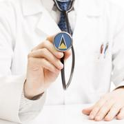 Doctor holding stethoscope with flag series - Saint Lucia - stock illustration