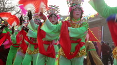 Villagers dancing yangko in spring festival temple fair Stock Footage