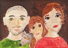 Happy family drawing - stock illustration