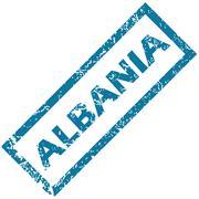 Albania rubber stamp - stock illustration
