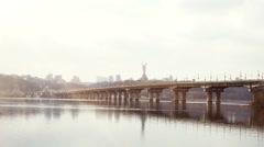 Kiev, Ukraine. View of Road Bridge - Paton Bridge. 4K Stock Footage