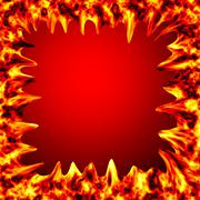 Fire burn on red background with copy space - stock illustration