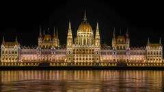 Night detail of the Parliament building - stock photo