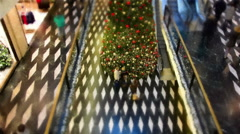 Moving painting style shopping mall at Christmas time Stock Footage