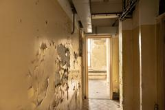 Light through window at corridor - stock photo