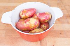 Red potatoes in a saucepan Stock Photos