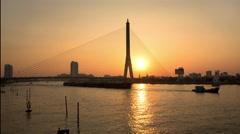 Day to Night Time-Lapse of Rama Bridge Bangkok Stock Footage