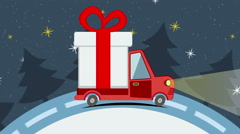 Christmas and New Year animated greeting card with gift delivery van Stock Footage