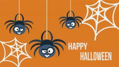 Three hanging cute flat spiders. Happy Halloween invitation card. Stock Footage