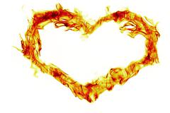 fire heart shape on white background - stock illustration