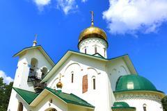 Church of St. Alexander Nevsky. Ashukino village. Stock Photos