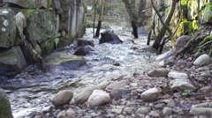 Small creek with big stones around it, filmed a sunny day in autumn Stock Footage