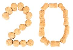 Inscription '20' from the wine corks Stock Photos