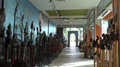 4k Masks and sculptures exhibition walk Jardim Tropical Madeira Stock Footage