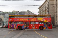 Double decker bus for excursions - stock photo