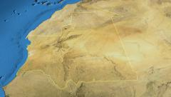 Mauritania, glide over the map, outlined Stock Footage
