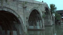 2 Shots: Shanghai Zhujiajiao water village FangSheng bridge Stock Footage