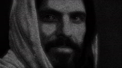 Animation of Christ with numbers running Stock Footage