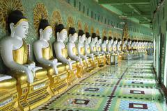 Buddha Statues at U Min Thonze Pagoda in Sagaing, Mandalay, Myanmar - stock photo