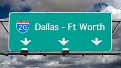 Dallas Interstate 20 Freeway Sign Time Lapse Stock Footage