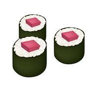Stock Illustration of Tuna Sushi Roll or Tuna Norimaki Isolated on White