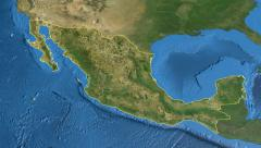 Mexico, glide over the map, outlined Stock Footage