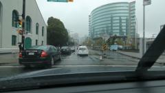 Driving west on Dunsmuir Street on rainy day in downtown Vancouver, BC. Stock Footage