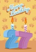 Happy Birthday Age 27. Announcement and Celebration Message Poster, Flyer - stock illustration