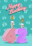 Happy Birthday Age 42. Announcement and Celebration Message Poster, Flyer - stock illustration