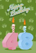 Happy Birthday Age 48. Announcement and Celebration Message Poster, Flyer Stock Illustration
